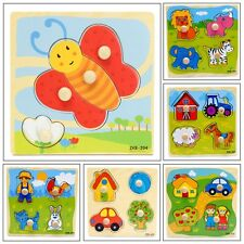 4 Shapes Wooden Adjustable Colorful Puzzle Toy Baby Infant Educational Brick