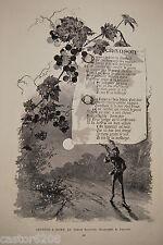G. FRAIPONT A. SILVESTRE gravure N&B Chanson à boire  VIGNE Paris Illustré 1885