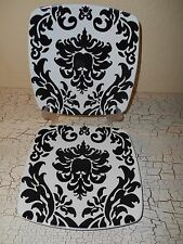 ROSCHER 4 Salad Plates Damask Black White Gothic Dinnerware Halloween