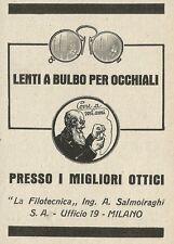 W3984 Lenti a bulbo per occhiali LA FILOTECNICA Salmoiraghi - Pubblicità 1927