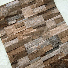 2016 Hot Realistic slate stone brick wall 3D effect textured Vinyl Wallpaper