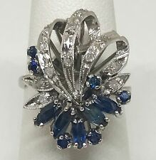 Estate Natural .60ctw Sapphire Diamond Ring 14k White Solid Gold Jewelry