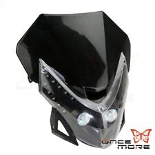 Motorcycle Universal New LED Vision Headlight Street Fighter Dirt Bike Black
