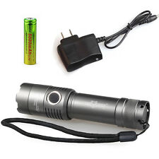 Tactical 6000LM CREE XM-L T6 LED Flashlight Zoom Torch Light Lamp+18650+Charger