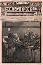 CHILDREN in HOSPITAL BEDS, antique engraving + article, original 1883
