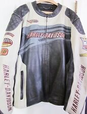HARLEY DAVIDSON SPROCKET LEATHER Distressed Motorcycle Racing Jacket/Coat 3XL
