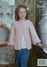 KNITTING PATTERN Childrens Long Sleeve Round Neck Cable Cardigan Chunky KC 4512