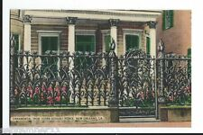 Postcard Linen Ornamental Iron (Corn Design) Fence, New Orleans, LA. 1930-40's