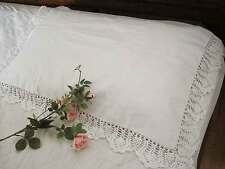 Beautiful Three Border Hand Crochet Wide Lace Cotton White Pillowcase A CL