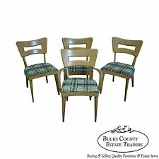 Heywood Wakefield Champagne Mid Century Maple Set of 4 Dogbone Dining Chairs