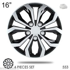 """New 16"""" Hubcaps Spyder Performance Black and Silver Wheel Covers For VW 553"""