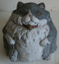 "Vintage 9"" Ceramic Sculpture Fat Cat Holding Mouse made in Maryland"