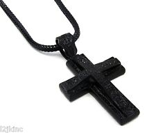 Mens Large Two Cross Black Iced Out Pendant 36 Inch Necklace Franco Chain G10
