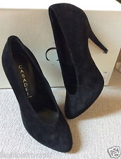 NEW CASADEI BLACK SUEDE LEATHER PUMPS SHOES 37