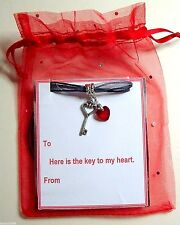 """""""Key to my Heart"""" Romantic Gift Necklace Heart Crystal & Key +Gift Bag & Tag"""