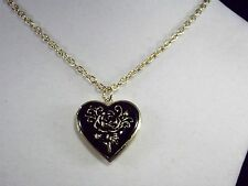 Venetti quality Black coloured Heart with gold colour rose locket necklace