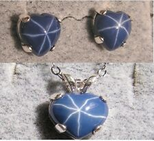 LINDE LINDY CF BLUE STAR SAPPHIRE CREATED HEART EARRING PENDANT CHAIN SET .925