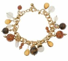 Joan Rivers Tiger's-eye and Opalescent Bead Charm Bracelet  NWT