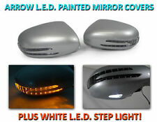 USA 07-09 W221 S Class Arrow LED Side Painted Silver Mirror Cover+LED Step Light