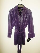 Women new Terry Lewis plus sz 3X purple leather suede lined jacket blazer coat
