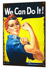 We Can Do It Rosie The Riveter Large Metal Tin Sign Feminist Retro WWII Plaque