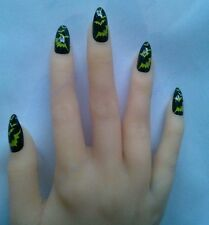Full cover fake nails, stiletto, pointy, claw. Black Costume Lady of the night