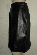 Black Leather Zip Pencil Straight Vent & Pocket Back Knee Length Skirt W 28 L 21