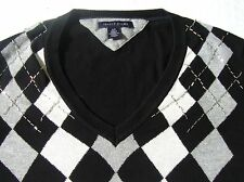 Tommy Hilfiger Argyle Sweater Womens Size Small Black