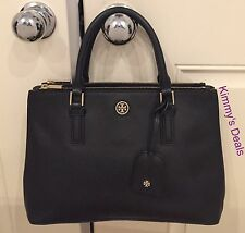 Tory Burch Robinson Mini Double Zip Tote In Black Saffiano Leather MSRP $475