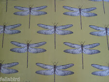 HARLEQUIN CURTAIN FABRIC Demoiselle 1.6 METRES CHARTREUSE/GRAPE DRAGONFLY