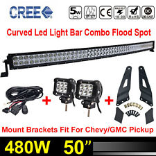 50inch 480W Curved LED Light Bar+Wiring kit+Roof Mounting Brackets For Chevy GMC