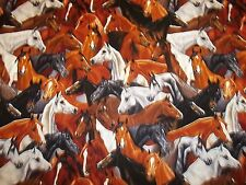 """HORSE COLLAGE FABRIC byTIMELESS TREASURES 100% COTTON NEW!! ADORABLE 1/2 YARD """""""