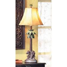 See Hear Speak No Evil Monkey Palm Tree Table Lamp Jungle Safari African Decor