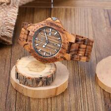ANSELF Men's Wooden Analog Calendar Quartz Watch Zebra Wood Luminous Hands I7E6