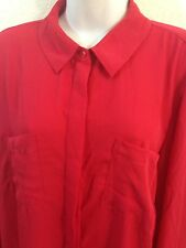 Lane Bryant Long Red Blouse Top With Two Front Pockets Size 14/16