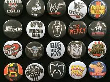 Retro WWE (WWF) Button Badges x 20. Pins. Wholesale. Collector. Bargain.. :0)