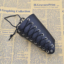 1 PC Punk Leather Cuff Bracer Arm Armor Wristband Cross Cotton Paraffined String