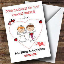 Doodle Gay Lesbian Couple Red Head Brunette Personalised Wedding Blessing Card