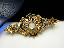 Florenza Vintage Victorian Revival Brooch Opalescent Glass Faux Turquoise Enamel