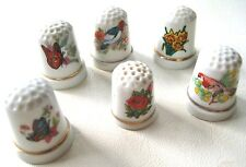 Porcelain Thimbles Lot of 6 Butterflies, Birds, Roses, Daffodils Made in Japan