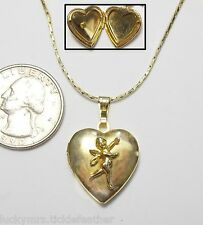 """Vintage Locket Necklace, Heart w/3D Cupid, 18"""" Cobra Chain, Gold Plate"""