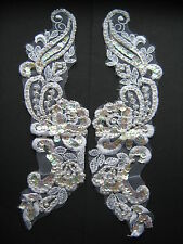 White Beaded Sequin Embroidered  Applique x 2   Sewing/Costume/Crafts/Bridal