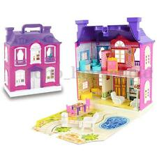 Villa Barbie Doll House Dollhouse Miniatures Assembled Furniture Toy DIY Kit LED