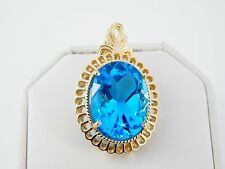 Large 14K 21.30 Carat Swiss Blue Topaz Pendant in Fine Detailed Setting 11 Grams