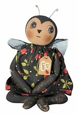 """LIL LADY WITH FLOWER DOLL SHELF SITTER  12"""" TALL CRITTER FABRIC RED BLACK DRESS"""