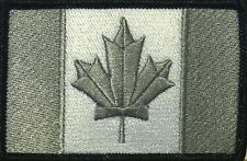 CANADA Flag Patch With VELCRO® Brand Fastener Gray & White  Black Border #16
