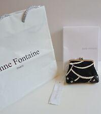 """Anne Fontaine NWT """"Glory-DEA"""" Black & White Fabric Coin Purse Retail $185."""