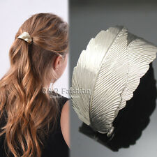 Rare Silver 2 Curve Leaf Feather French Updo Hair Pin Clip Dress Snap Barrette W