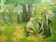 * Alfred James Dewey (USA, 1874-1958) O/C Summer Horseshoes Game at the Park
