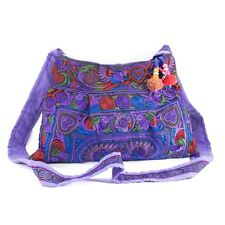 Hippie Cross-Over Bag Bird Hmong Embroidered Pattern in Purple from Thailand